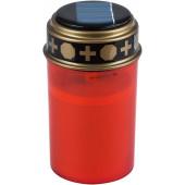 Solar LED Grablicht Höhe 12,5 cm rot 1-flammig zylinderförmig