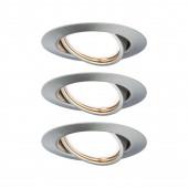 Base, GU10, 3er Set, schwenkbar, rund, metallisch
