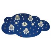 Sternenwolke, E14, 5-flammig, mit Schalter, blau