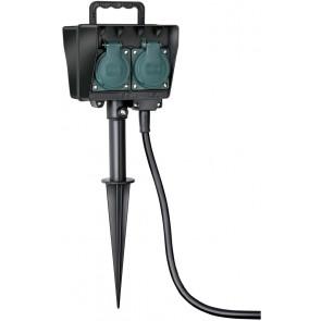 Gartensteckdose mit Erdspieß Höhe 38 cm schwarz 4-fach eckig