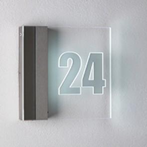 Hausnummernleuchte, Edelstahl, weiß