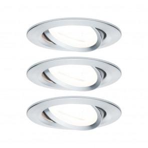 Nova, GU10, IP23, schwenkbar, 3er-Set, rund, metallisch