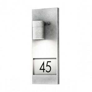 Modena Wandleuchte, Platz für drei Zahlen, galvanisierter Stahl